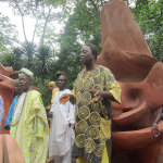 Artists Sangodare Ajala, Adebisi Akanji, Adeyemi Oseni and members of New Sacred Art team celebrate the completion of the magnificent restoration