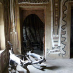 Some of the interior walls are painted with abstract designs, traditionally found in the shrines